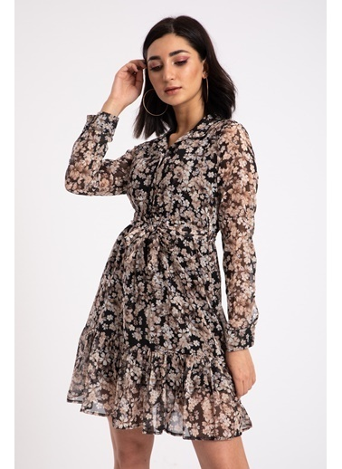 Madame Sare  Kadın Vizon Çiçek Desenli Şifon Elbise Vizon